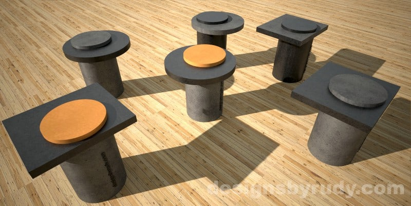 Concrete base side tables with concrete-wood top - Designs By Rudy