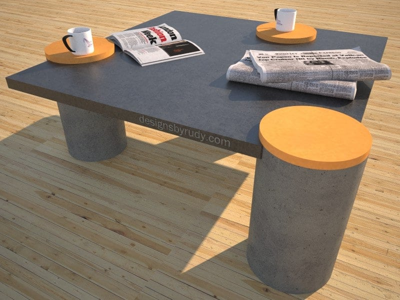 Concrete coffee table, scquare top with round legs, Desings by Rudy
