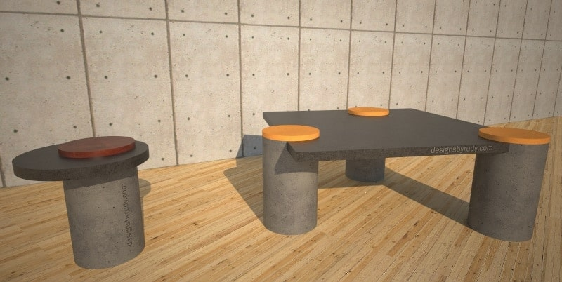 Concrete coffee table with side table on concrete wall bg, Designs by Rudy