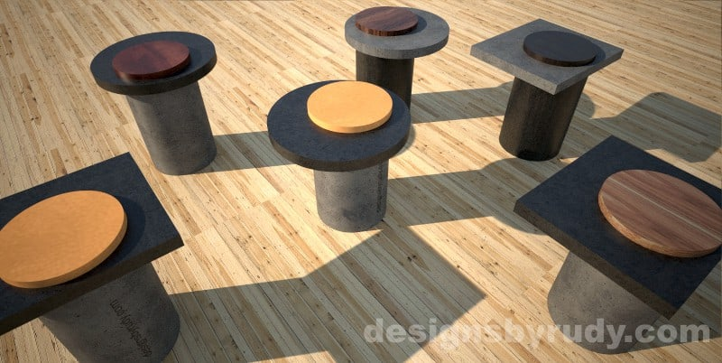 Concrete side table with round base and concrete-wood top - Designs By Rudy