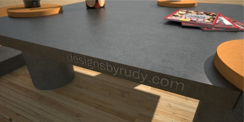 Custom concrete coffee table edge - Designs By Rudy