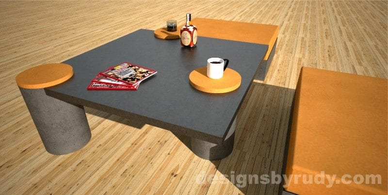 Custom concrete coffee table perspective view 2 - Designs By Rudy