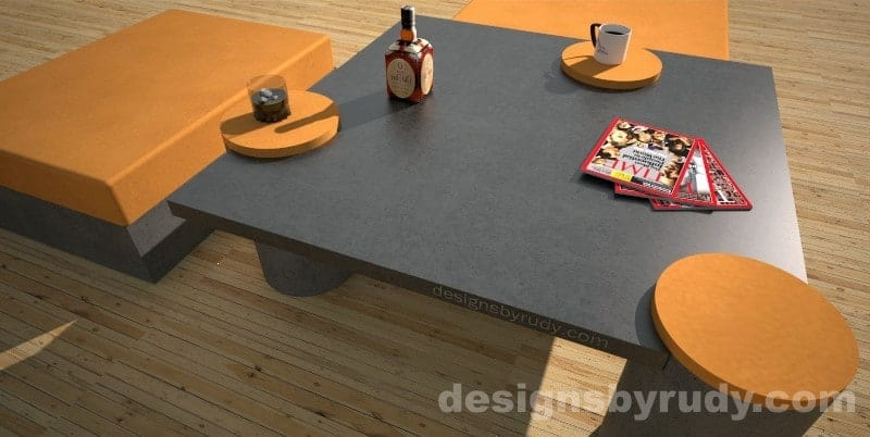 Custom concrete coffee table perspective view - Designs By Rudy