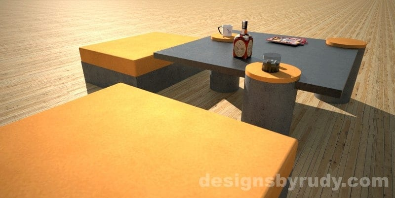 Custom concrete coffee table side view - Designs By Rudy