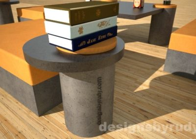 Custom concrete side table with round base and concrete-wood top - Designs By Rudy
