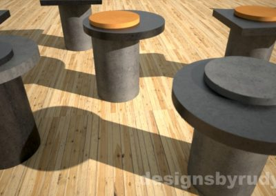 Modern concrete side table with round base and concrete-wood top - Designs By Rudy