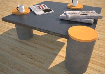 Concrete Coffee Table with 3 Round Legs