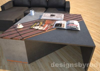 Black and grey concrete coffee table with striped wood center, closed storage bins, attached side tables and sofa Designs by Rudy