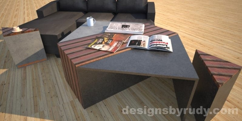 Black and grey concrete coffee table with striped wood center, closed storage bins, side tables and sofa. Designs by Rudy