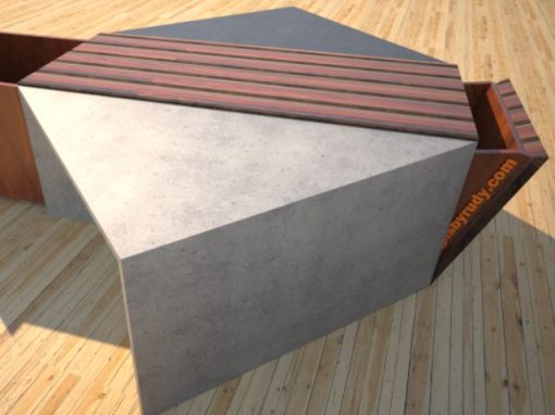 Concrete Coffee Table with Striped Wood Center Storage Bin