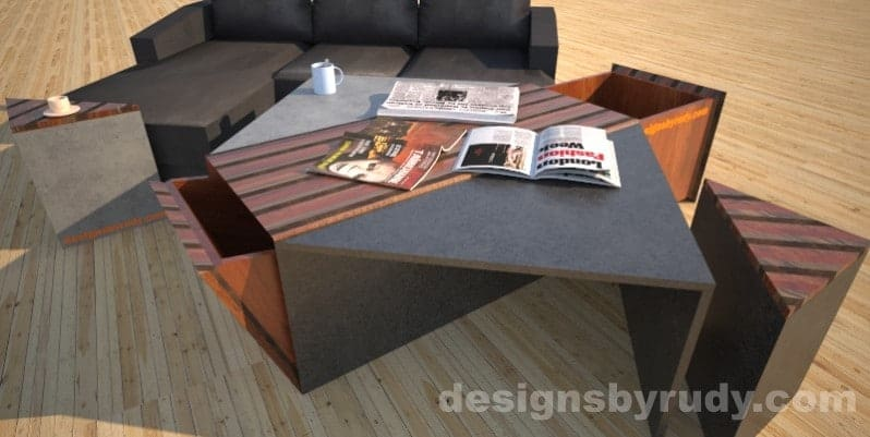 Concrete coffee table with striped wood center, 2open storage bins, side tables and sofa Designs by Rudy
