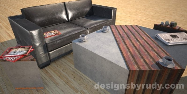 Concrete coffee table with striped wood center, 2side tables, sofa, coffee Designs by Rudy