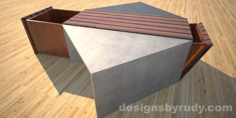 Concrete coffee table with striped wood center and and open storage bins Designs by Rudy