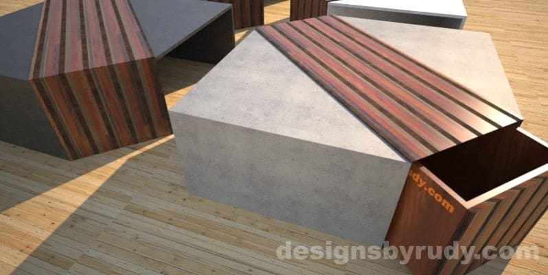Concrete coffee table with striped wood center and open drawer2 Designs by Rudy