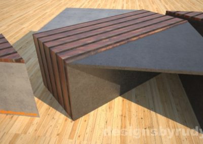 Concrete coffee table with striped wood center and side tables separated Designs by Rudy