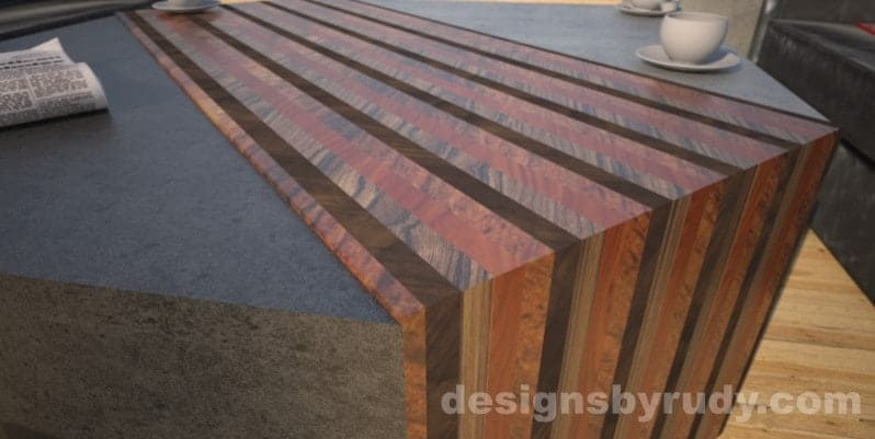 Concrete coffee table with striped wood center closeup Designs by Rudy