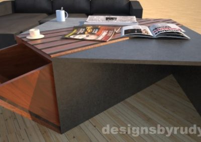 Concrete coffee table with striped wood center, open storage bin, and sofa Designs by Rudy