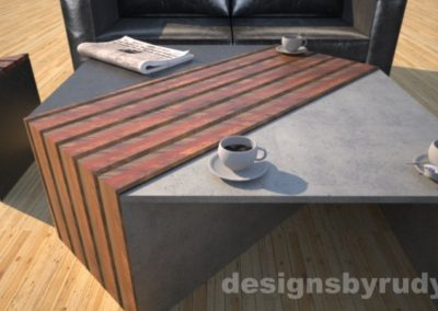 Concrete coffee table with striped wood center, side table, sofa, coffee Designs by Rudy
