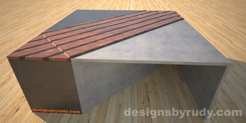 Concrete coffee table with with striped wood center and side tables Designs by Rudy
