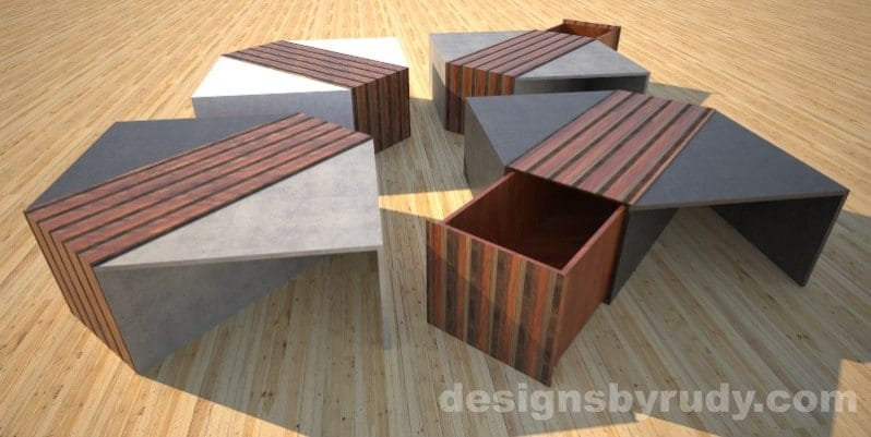 Four concrete coffee tables with striped wood center and and open storage bins Designs by Rudy