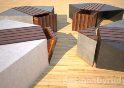 Four concrete coffee tables with striped wood center side table and open storage bins Designs by Rudy