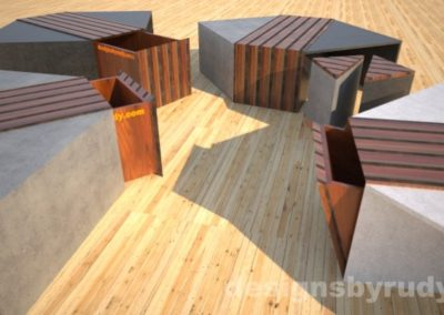 Four concrete coffee tables with striped wood center side tables and open storage bins Designs by Rudy