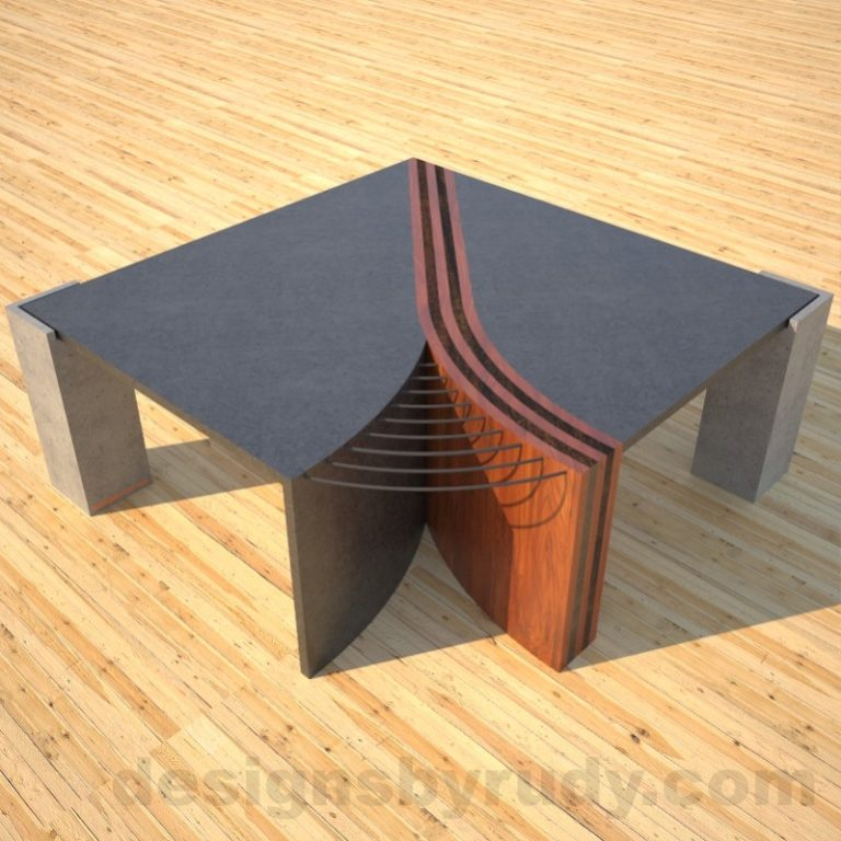 "Concrete Coffee Table ""Unzipped"" with wood and metal accents top front view DR"