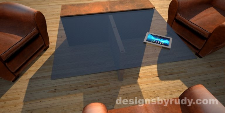 Top view of a concrete coffee table with glass top and CorTen steel cap, Designs by Rudy