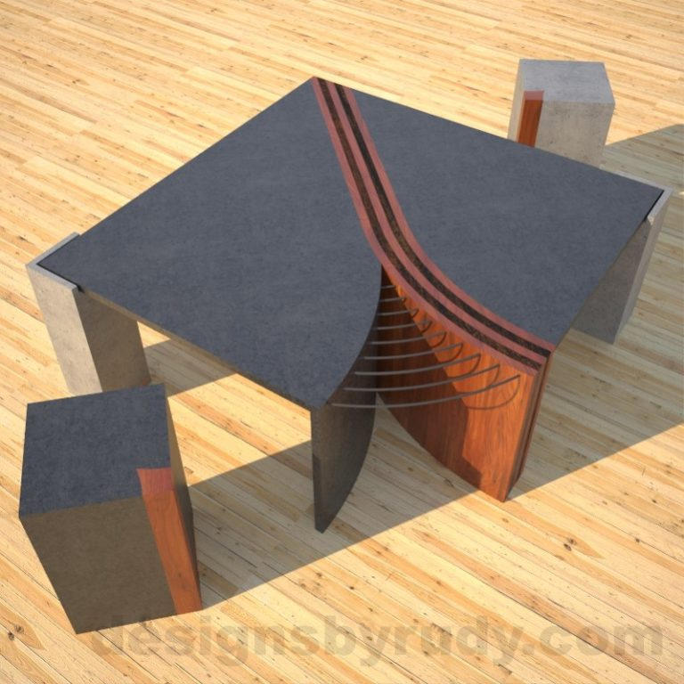 Concrete Coffee Table Unzipped with wood and metal accents accompanied by two side tables DR