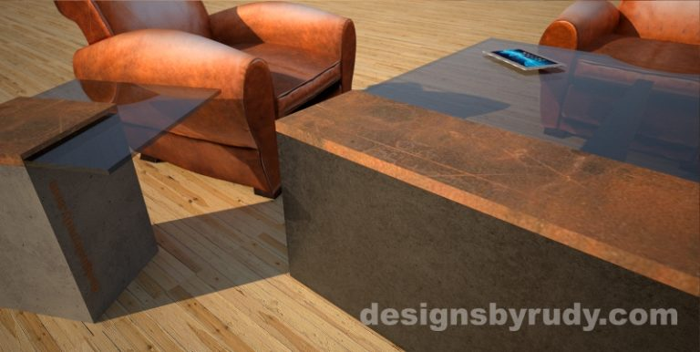 Side view of a concrete coffee table with glass top and CorTen steel cap, and cocktail table, Designs by Rud