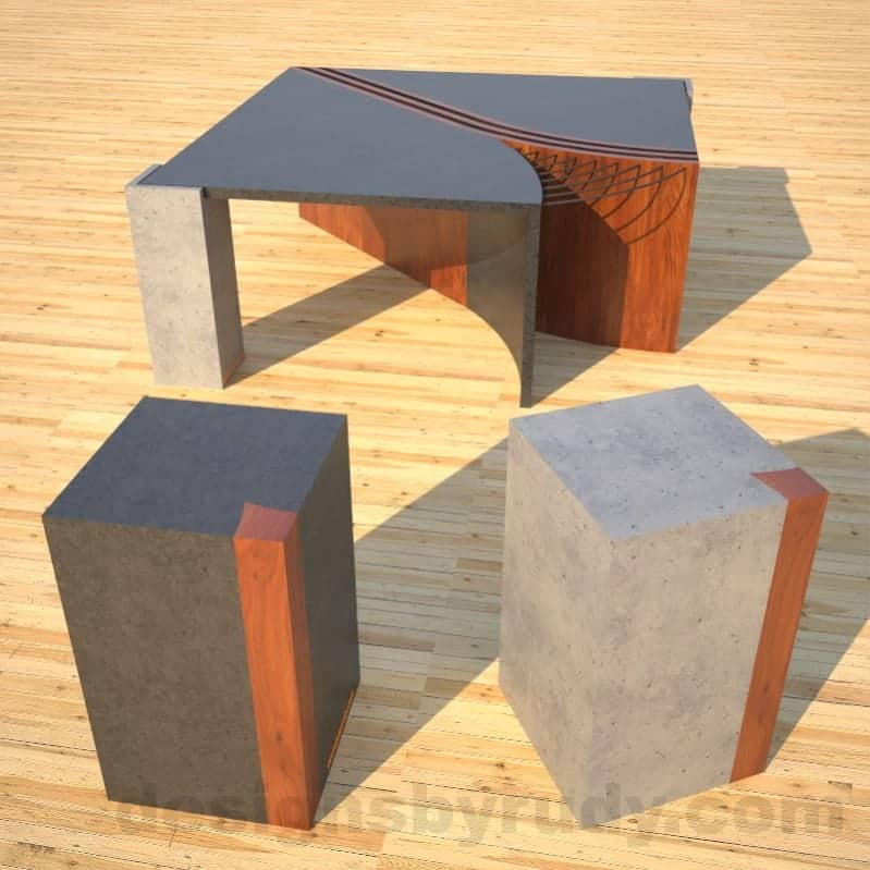 Concrete Coffee Table Unzipped with wood and metal accents accompanied by two side tables in front DR