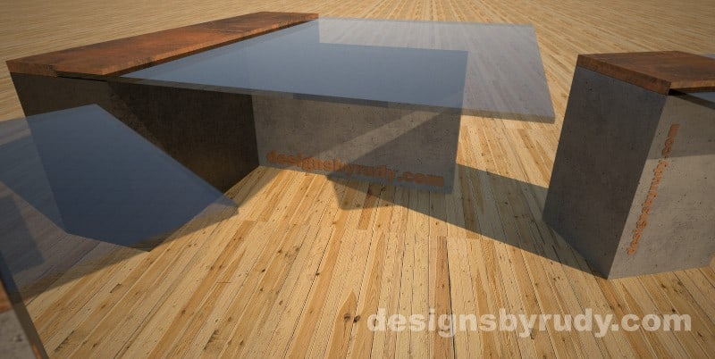 Concrete coffee table with glass top, T shaped base, and CorTen steel cap, Designs by Rudy