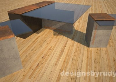 Concrete coffee table with glass top, T shaped base, CorTen steel cap, and two matching cocktail tables, Designs by Rudy