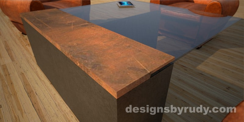 Corner view of a concrete coffee table with glass top and CorTen steel cap, Designs by Rudy