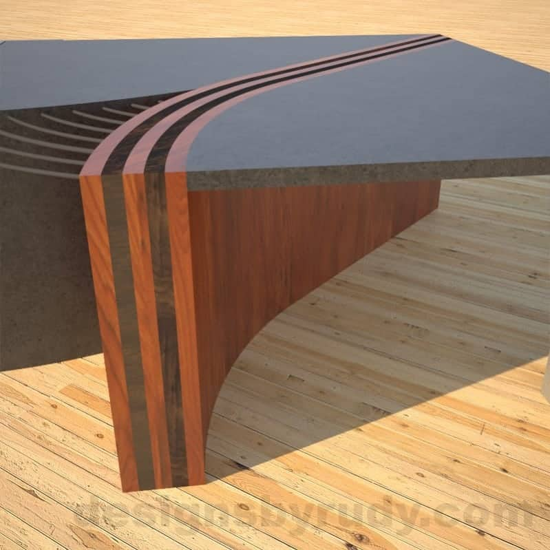 Concrete Coffee Table Unzipped with wood and metal accents wooden front closeup DR