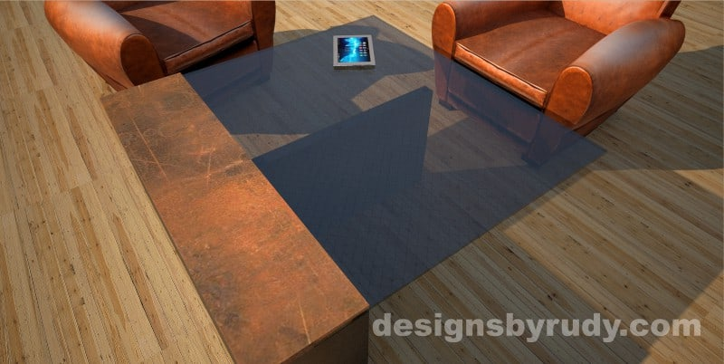 Corner top view of a concrete coffee table with glass top and CorTen steel cap, Designs by Rudy