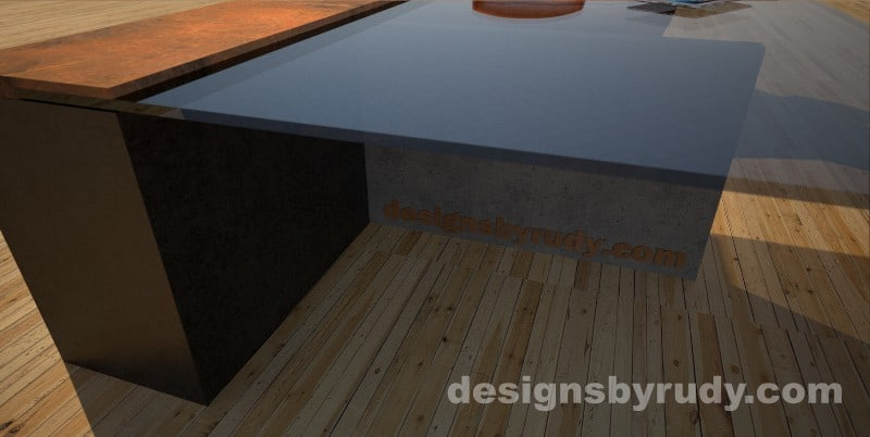 Close-up of a concrete coffee table with glass top, T shaped base, and CorTen steel cap, Designs by Rudy