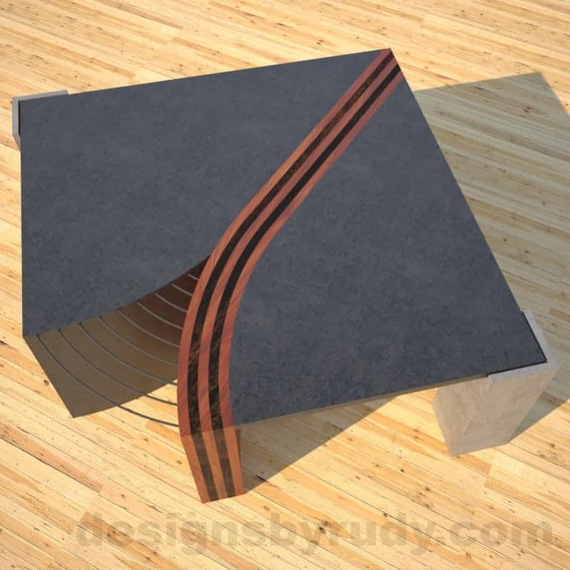 Concrete Coffee Table Unzipped with wood and metal accents wooden section top view DR