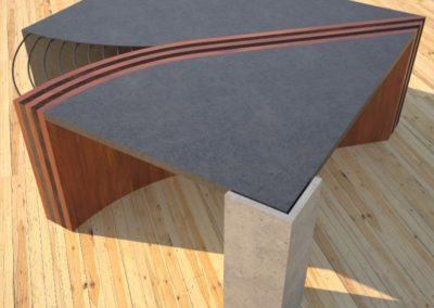 Concrete Coffee Table Unzipped with wood and metal accents wooden section corner side view DR