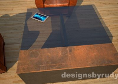 Reverse top view of a concrete coffee table with glass top and CorTen steel cap, Designs by Rud