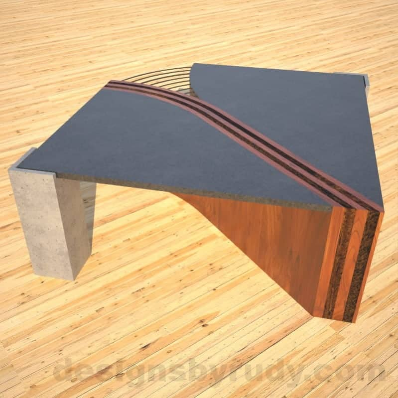 Concrete Coffee Table Unzipped with wood and metal accents wooden section corner rear view DR
