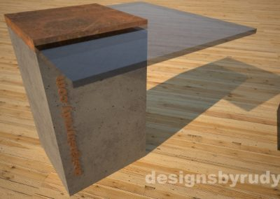 Concrete cocktail table with glass top and CorTen steel cap, Designs by Rudy