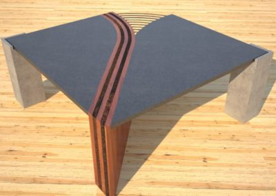 Concrete Coffee Table Unzipped with wood and metal accents rear view DR
