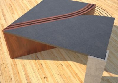 Concrete Coffee Table Unzipped with wood and metal accents concrete section corner rear view DR