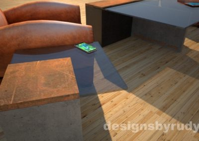 Perspective view of a concrete cocktail table with glass top and CorTen steel cap, and cocktail table, Designs by Rudy
