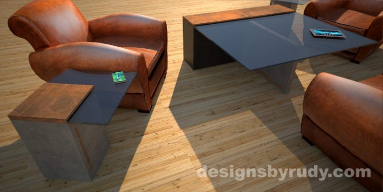 Angle view of a concrete coffee table with glass top and CorTen steel cap, and cocktail table, Designs by Rudy