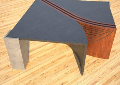 Concrete Coffee Table Unzipped with wood and metal accents concrete section side view DR