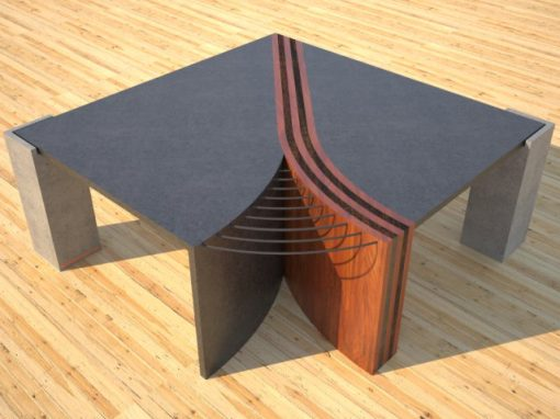 Concrete Coffee Table UNZIPPED with Striped Solid Wood Divider