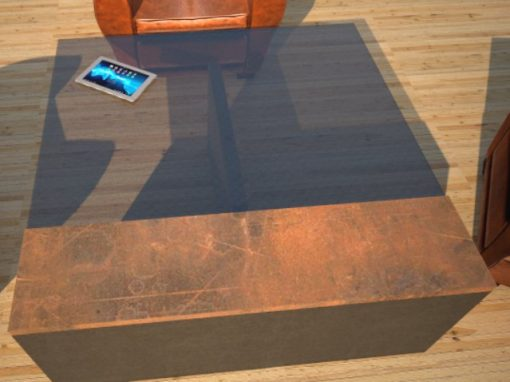 Glass Top Concrete Coffee Table with Corten Steel Plate