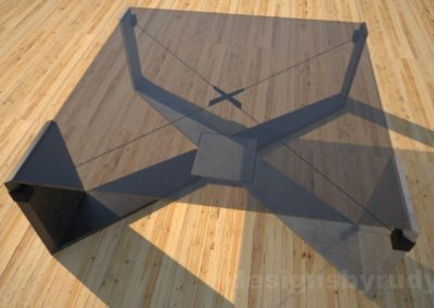 Concrete Coffee Table with X Shaped Base and glass top Designs by Rudy (1)